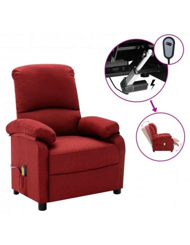 Elektrinis masažinis krėslas, raudonojo vyno spalvos, audinys  | Foteliai, reglaineriai ir išlankstomi krėslai | duodu.lt
