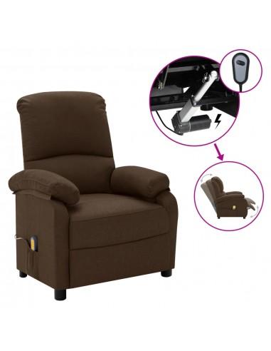 Elektrinis masažinis krėslas, tamsiai rudas, audinys    Foteliai, reglaineriai ir išlankstomi krėslai   duodu.lt