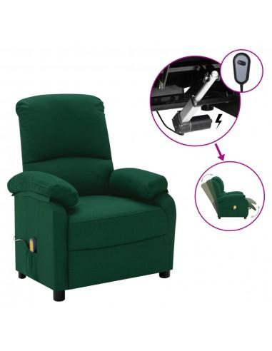 Elektrinis masažinis krėslas, tamsiai žalios spalvos, audinys    Foteliai, reglaineriai ir išlankstomi krėslai   duodu.lt