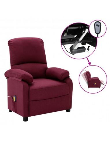 Elektrinis masažinis atlošiamas krėslas, violetinės spalvos, audinys    Foteliai, reglaineriai ir išlankstomi krėslai   duodu.lt