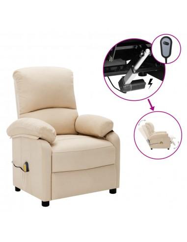 Elektrinis masažinis atlošiamas krėslas, kreminis, audinys  | Foteliai, reglaineriai ir išlankstomi krėslai | duodu.lt