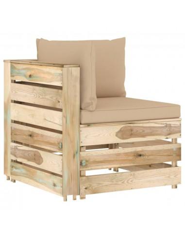 Modulinė kampinė sofa su pagalvėmis, žaliai impregnuota mediena | Lauko sudedamosios sofos dalys | duodu.lt