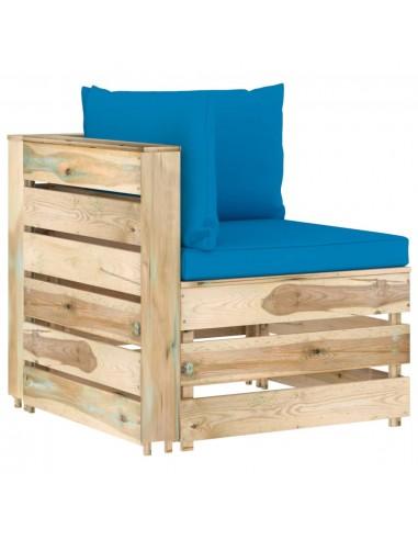 Modulinė kampinė sofa su pagalvėmis, žaliai impregnuota mediena   Lauko sudedamosios sofos dalys   duodu.lt