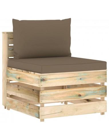 Modulinė vidurinė sofos dalis su pagalvėlėmis, mediena | Lauko sudedamosios sofos dalys | duodu.lt