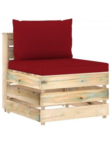 Modulinė vidurinė sofos dalis su pagalvėlėmis, mediena   Lauko sudedamosios sofos dalys   duodu.lt