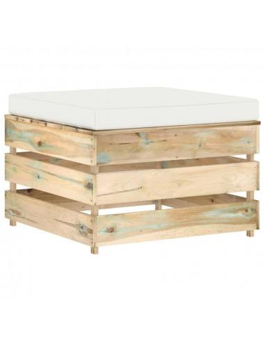 Modulinė sodo otomanė su pagalvėle, žaliai impregnuota mediena  | Lauko sudedamosios sofos dalys | duodu.lt