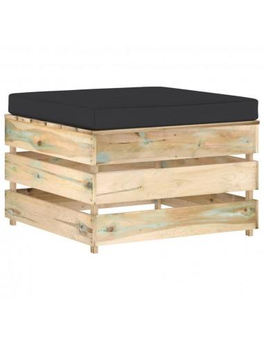 Modulinė sodo otomanė su pagalvėle, žalia, impregnuota mediena    Lauko sudedamosios sofos dalys   duodu.lt