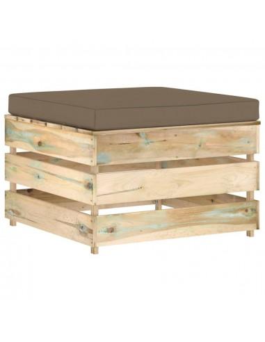 Modulinė sodo otomanė su pagalvėle, žalia, impregnuota mediena  | Lauko sudedamosios sofos dalys | duodu.lt