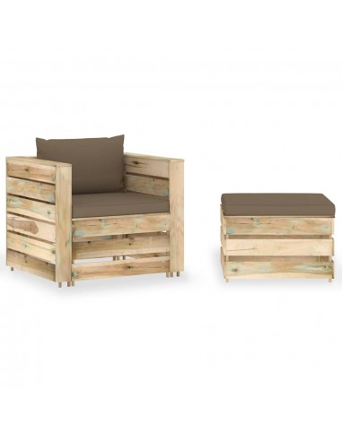 Sodo komplektas su pagalvėlėmis, 2 dalių, impregnuota mediena | Lauko Baldų Komplektai | duodu.lt