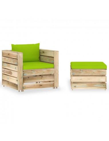 Sodo komplektas su pagalvėlėmis, 2 dalių, impregnuota mediena   Lauko Baldų Komplektai   duodu.lt