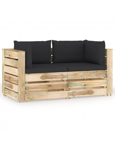 Dvivietė sodo sofa su pagalvėlėmis, žaliai impregnuota mediena   Lauko Sofos   duodu.lt
