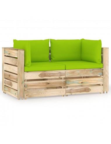 Dvivietė sodo sofa su pagalvėlėmis, žaliai impregnuota mediena | Lauko Sofos | duodu.lt