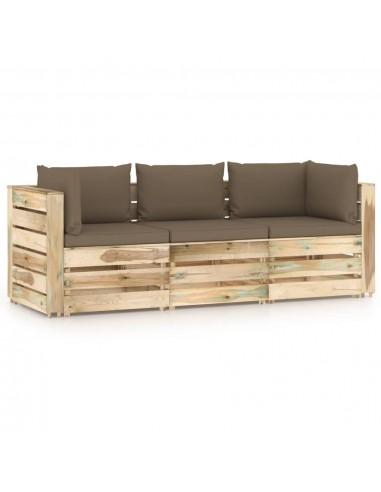 Trivietė sodo sofa su pagalvėlėmis, žaliai impregnuota mediena | Lauko Sofos | duodu.lt