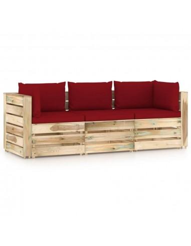 Trivietė sodo sofa su pagalvėlėmis, žaliai impregnuota mediena   Lauko Sofos   duodu.lt