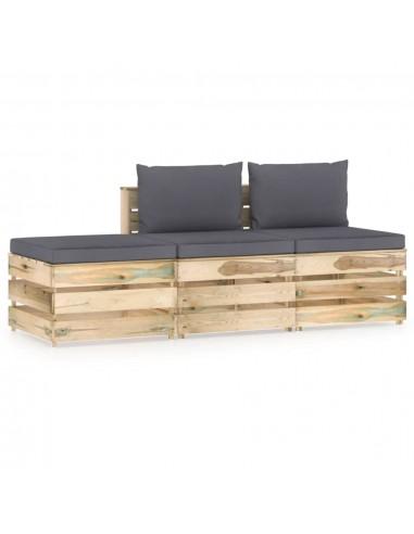 Sodo komplektas su pagalvėlėmis, 3 dalių, impregnuota mediena   Lauko Baldų Komplektai   duodu.lt