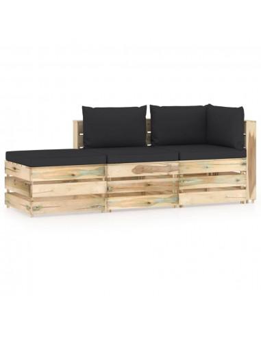 Sodo komplektas su pagalvėlėmis, 3 dalių, impregnuota mediena | Lauko Baldų Komplektai | duodu.lt