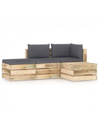 Sodo komplektas su pagalvėlėmis, 4 dalių, impregnuota mediena   Lauko Baldų Komplektai   duodu.lt