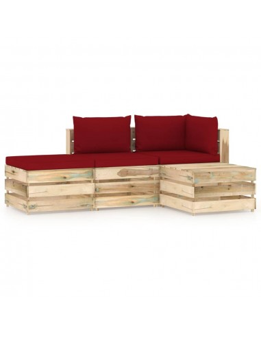 Sodo komplektas su pagalvėlėmis, 4 dalių, impregnuota mediena | Lauko Baldų Komplektai | duodu.lt