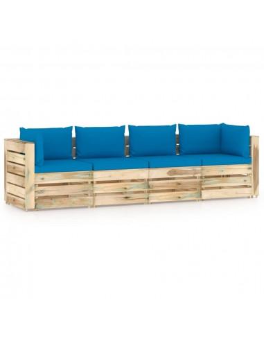 Keturvietė sodo sofa su pagalvėmis, žaliai impregnuota mediena | Lauko Sofos | duodu.lt