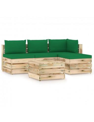 Sodo komplektas su pagalvėlėmis, 5 dalių, impregnuota mediena | Lauko Baldų Komplektai | duodu.lt