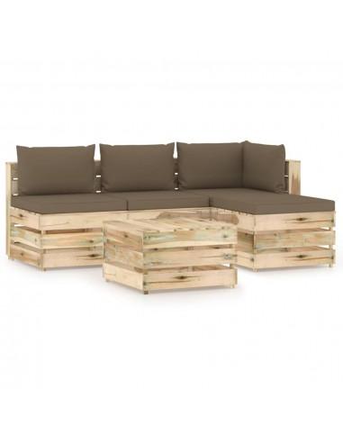 Sodo komplektas su pagalvėlėmis, 5 dalių, impregnuota mediena   Lauko Baldų Komplektai   duodu.lt
