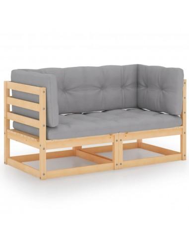 Dvivietė sodo sofa su pagalvėlėmis, pušies medienos masyvas   Lauko Sofos   duodu.lt
