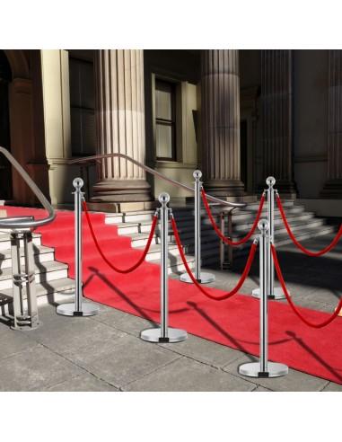 VIP eilės užtvaros rinkinys, 3 dalių, sidabrinis, plienas | Saugos ir perspėjimo ženklai | duodu.lt