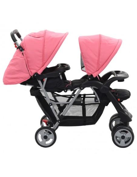 Vaikiškas vežimėlis dvynukams, plienas, raudonas/juodas | Kūdikių Vėžimėliai | duodu.lt