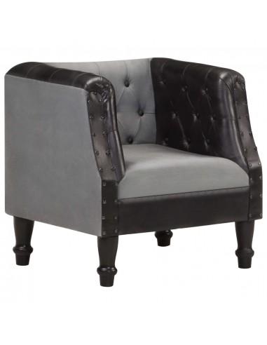 Krėslas, juodos spalvos, tikra oda ir mango medienos masyvas   Foteliai, reglaineriai ir išlankstomi krėslai   duodu.lt