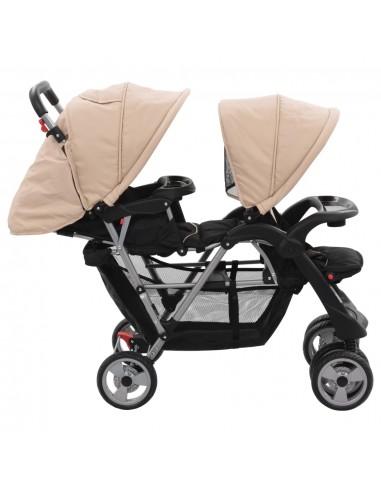 Vaikiškas vežimėlis dvynukams, plienas, mėlynas/juodas | Kūdikių Vėžimėliai | duodu.lt