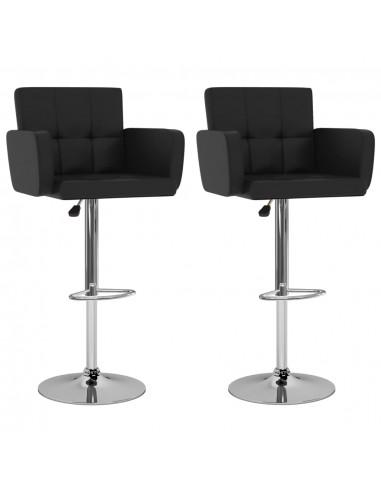 Baro taburetės, 2vnt., juodos spalvos, dirbtinė oda    Stalai ir Baro Kėdės   duodu.lt