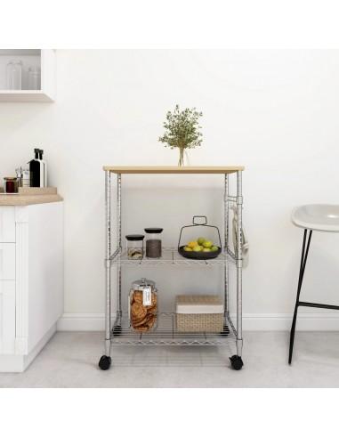 Virtuvės vežimėlis, 3 aukštų, 61x36x85cm, chromuota geležis | Virtuvės ir Valgomojo Staliukai ant Ratukų | duodu.lt