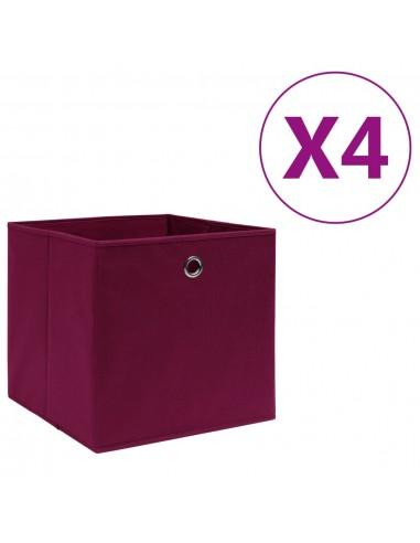 Daiktadėžės, 4vnt., raudonos, 28x28x28cm, neaustinis audinys | Daiktadėžės namams | duodu.lt