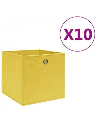 Daiktadėžės, 10vnt., geltonos, 28x28x28cm, neaustinis audinys   Daiktadėžės namams   duodu.lt