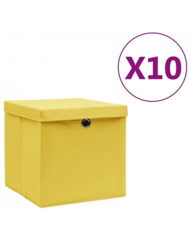 Daiktadėžės su dangčiais, 10vnt., geltonos spalvos, 28x28x28cm   Daiktadėžės namams   duodu.lt