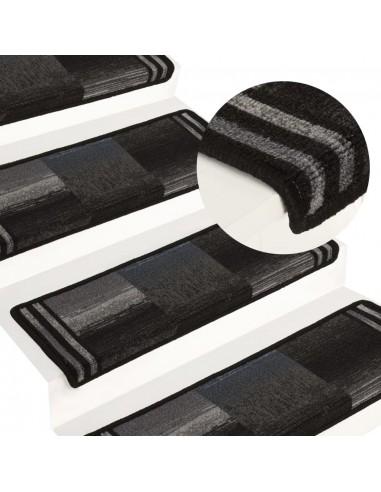 Lipnūs laiptų kilimėliai, 15vnt., juodas ir pilkas, 65x25cm | Laiptų kilimėliai | duodu.lt