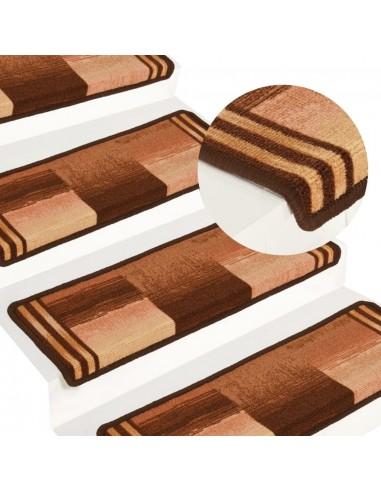 Lipnūs laiptų kilimėliai, 15vnt., rudos spalvos, 65x25cm   Laiptų kilimėliai   duodu.lt