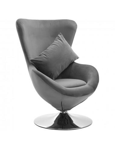 Pasukama kėdė su pagalvėle, šviesiai pilka, aksomas | Foteliai, reglaineriai ir išlankstomi krėslai | duodu.lt