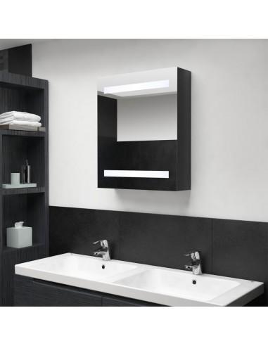 Veidrodinė vonios spintelė su LED apšvietimu, juoda, 50x14x60cm | Vonios Spintelės | duodu.lt