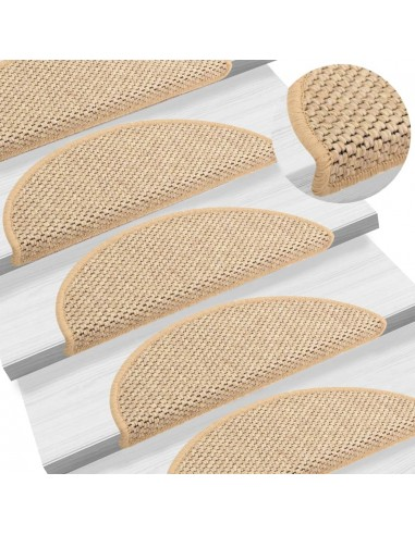 Lipnūs laiptų kilimėliai, 15vnt., šviesios smėlio, 65x25cm | Laiptų kilimėliai | duodu.lt