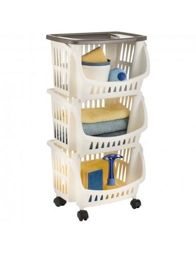 Virtuvės vežimėlis, baltos ir taupe spalvos | Virtuvės ir Valgomojo Staliukai ant Ratukų | duodu.lt