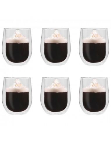 Dvigubos sienelės stiklinės arbatai, 6vnt., 320ml   Kavos ir Arbatos Puodeliai   duodu.lt