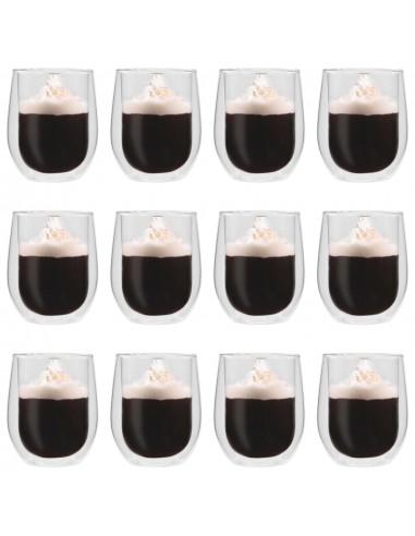 Dvigubos sienelės stiklinės arbatai, 12vnt., 320ml | Kavos ir Arbatos Puodeliai | duodu.lt