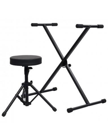 Stovo sintezatoriui ir taburetės rinkinys, juodos spalvos   Suoliukai ir kėdutės muzikos instrumentams   duodu.lt
