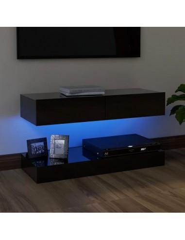 TV spintelė su LED apšvietimu, blizgi juoda, 90x35 cm | Pramogų Centrai ir TV Stovai | duodu.lt