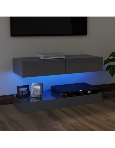 Televizoriaus spintelė su LED apšvietimu, blizgi pilka, 90x35 cm   Pramogų Centrai ir TV Stovai   duodu.lt