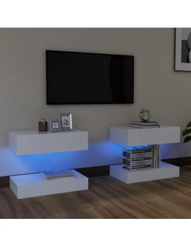 Televizoriaus spintelės su LED apšvietimu, 2vnt., baltos, 60x35cm  | Pramogų Centrai ir TV Stovai | duodu.lt