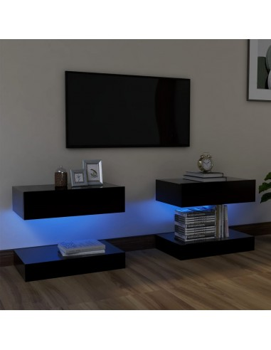Televizoriaus spintelės su LED apšvietimu, 2vnt., juodos, 60x35cm    Pramogų Centrai ir TV Stovai   duodu.lt
