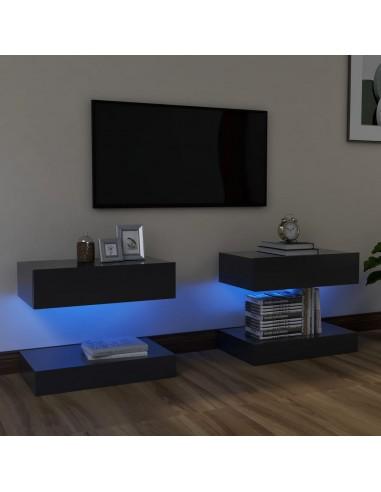 Televizoriaus spintelės su LED apšvietimu, 2vnt., pilkos, 60x35cm  | Pramogų Centrai ir TV Stovai | duodu.lt