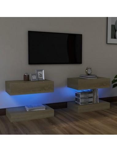 TV spintelės su LED apšvietimu, 2vnt., sonoma ąžuolo, 60x35cm | Pramogų Centrai ir TV Stovai | duodu.lt